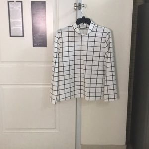 Long sleeve square check top black & white Shein